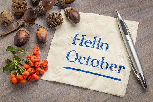 Hello October on napkin