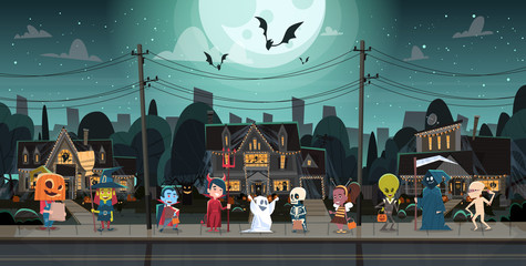 Kids Wearing Monsters Costumes Walking In Town Tricks Or Treat Happy Halloween Banner Holiday Concept Vector Illustration