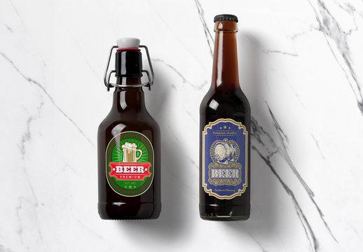 Amber Glass Bottles Mockups