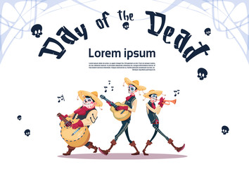 Day Of Dead Traditional Mexican Halloween Holiday Party Decoration Banner Invitation Skeleton Play Guitar Flat Vector Illustration