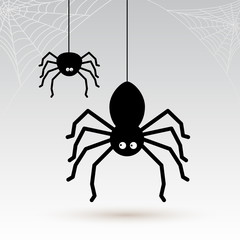 Cartoon spiders with cobwebs in the corners. Vector illustration. Isolated on gray background