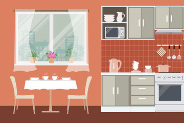 Kitchen in orange color. There is a beige furniture, a stove, a table with chairs, a window and other objects in the picture. Vector flat illustration