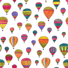 Hot air balloons watercolor hand drawn seamless pattern