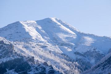 Snow covered Wasatch Mountain Peak Utah