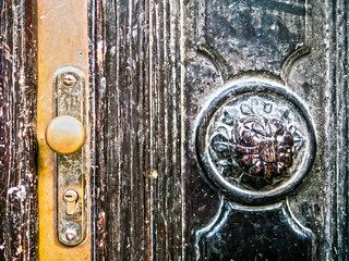 Old door with carved details
