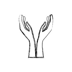 Hands with palm open icon vector illustration graphic design