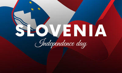 Banner or poster of Slovenia independence day celebration. Waving flag. Vector illustration.