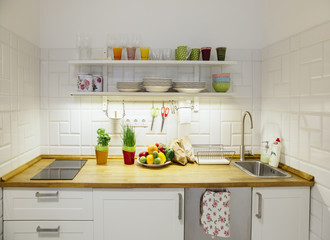 Small kitchen with healthy food on the counter