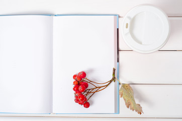 Red berries rowan viburnum coffee cup notepad pen