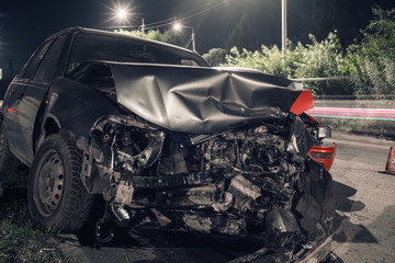 night car accident at shallow depth of field