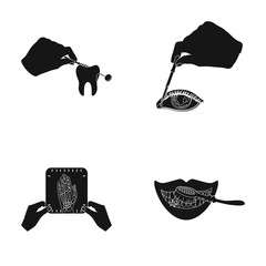 Examination of the tooth, instillation of the eye and other web icon in black style. A snapshot of the hand, teeth cleaning icons in set collection.