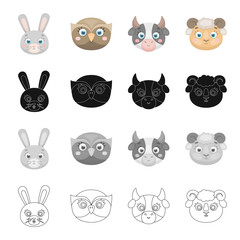 Different kinds of animals, muzzle of a hare, an owl, a cow and a sheep. Muzzle of an animal set collection icons in cartoon black monochrome outline style vector symbol stock illustration web.
