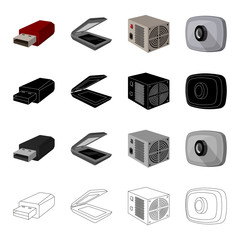 Computer equipment USB flash drive, scanner, power supply, web camera. Computer Accessories set collection icons in cartoon black monochrome outline style vector symbol stock illustration web.