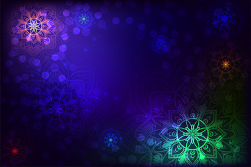 Abstract background with mandala and snowflake