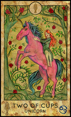 Unicorn. Minor Arcana Tarot Card. Two of Cups