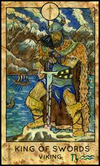 Viking. Scandinavian warrior. Minor Arcana Tarot Card. King of Swords