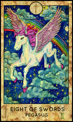 Pegasus. Minor Arcana Tarot Card. Eight of Swords