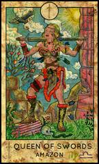 Amazon woman warrior. Minor Arcana Tarot Card. Queen of Swords