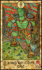 Orc. Minor Arcana Tarot Card. King of Cups