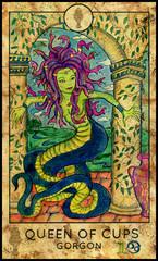Gorgon. Minor Arcana Tarot Card. Queen of Cups.
