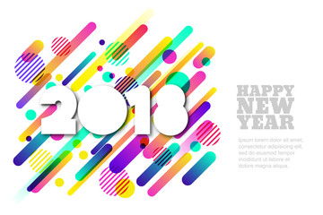 Happy New Year 2018 vector paper horizontal banner or greeting card. White paper cut numbers on motion dynamic shapes background. Trendy design elements for poster, party invitation.