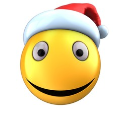 3d yellow emoticon smile with christmas hat
