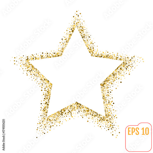 Golden Star Vector Banner On White Background Gold Glitter Template For Card Vip Exclusive Certificate Gift Luxury Privilege