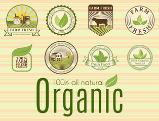 Bio farm organic eco healthy food templates and vintage vegan green color for restaurant menu or package badge vector illustration.