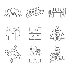 Business teamwork teambuilding thin line icons work command management outline human resources concept vector illustration