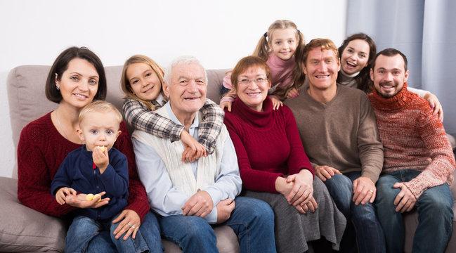 Ordinary family making numerous photos