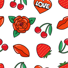 Seamless pattern with rose, cherry, strawberry, lips and heart on white background. Fashion patches and stickers. Vector illustration.