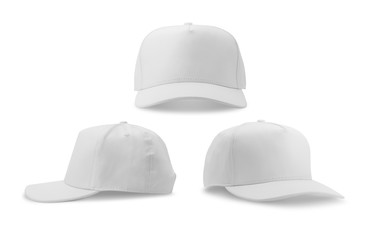 White baseball cap isolated on white background.