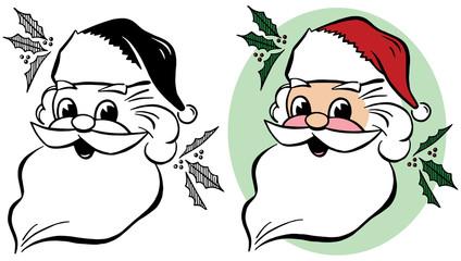 A cartoon portrait of Santa Claus