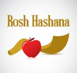 Rosh Hashana Shofar horn and apple
