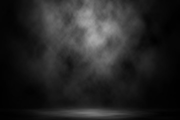 Abstract white smoke spotlight stage background.