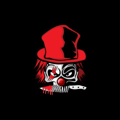 scary skull clown illustration vector art in black background