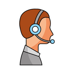 profile man operator of customer service with headset work