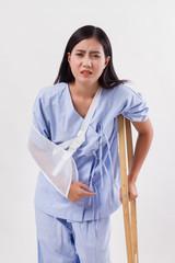 unlucky woman with broken arm bone