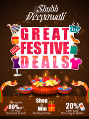 Firecracker on Happy Diwali night celebrating holiday of India  with festive deal background