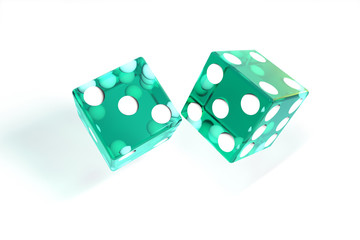 3d illustration: quality rendering image of transparent turquoise rolling dices with dots. The cubes in the cast. throws. On white background isolated. High resolution. Realistic shadows.