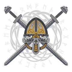 Viking helmet with two crossed swords and Scandinavian pattern