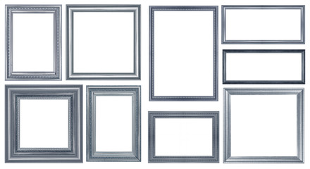 collection of vintage blue and wood picture frame, isolated on white