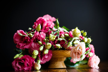 Beautiful bouquet of pink lisianthus flowers