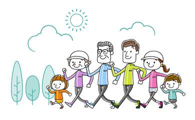 家族:運動、歩く