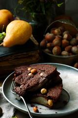 squidgy pear hazelnut chocolate spread cake