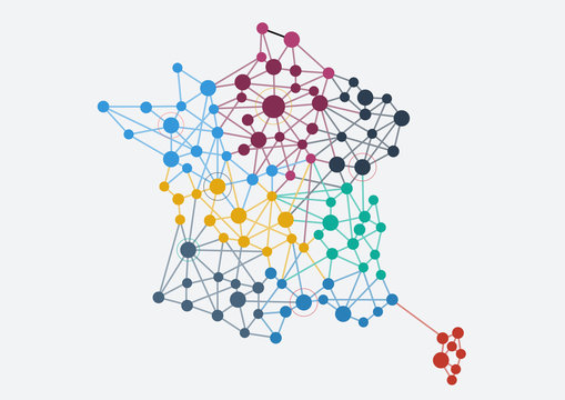 Abstract french network with map and link