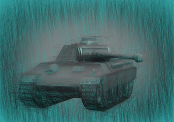 3d illustration of military Tank  .