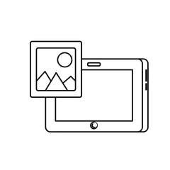 line tablet technology with picture icon