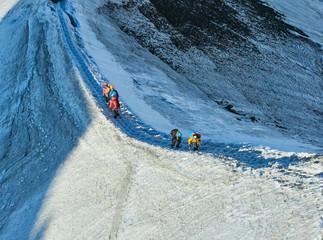 Hikers on glacier at Aiguille du Midi, Chamonix, France