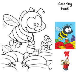Funny little bee with a bucket flying for honey. Coloring book. Cartoon vector illustration